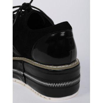Zipper Embellishment Stitching Wedge Shoes - Noir 38