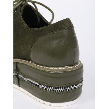 Zipper Embellishment Stitching Wedge Shoes - BLACKISH GREEN 39