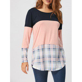 Lace Panel Plaid Tee - PINK XL