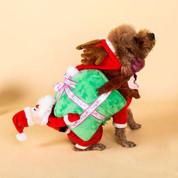 Santa Claus Pet Costume Christmas Dog Hooded Jumpsuit - RED RED