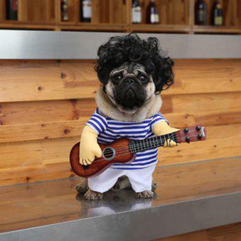Pet Dog Guitar Stripe Jumpsuit with Wig - BLUE STRIP PATTERN BLUE STRIP PATTERN