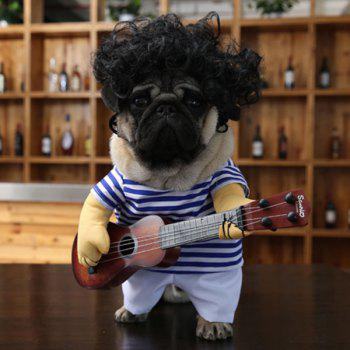 Pet Dog Guitar Stripe Jumpsuit with Wig - M M