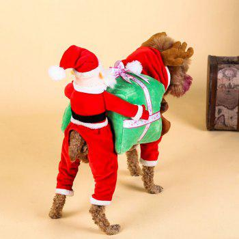 Santa Claus Pet Costume Christmas Dog Hooded Jumpsuit - RED M