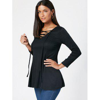 Lace Up Long Sleeve Tunic T Shirt - BLACK L