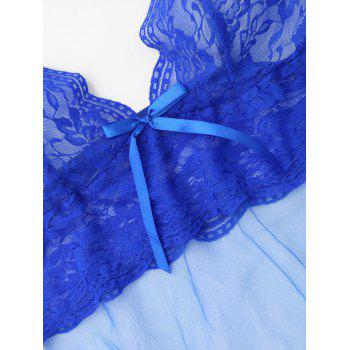 Lace Mesh Sheer Slip Babydoll - BLUE S