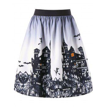 Halloween Castle Print Ombre Swing Skirt - WHITE AND BLACK XL