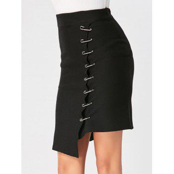 Clip Detail Knee Length Asymmetric Skirt - BLACK BLACK
