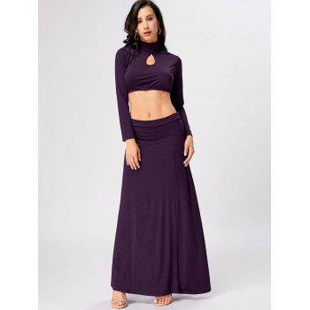 Cut Out High Waist Two Piece Party Dress - PURPLE XL