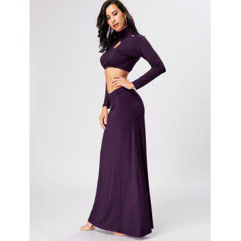 Cut Out High Waist Two Piece Party Dress - PURPLE 2XL