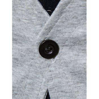 Button Up Faux Twinset Cardigan - LIGHT GRAY 2XL