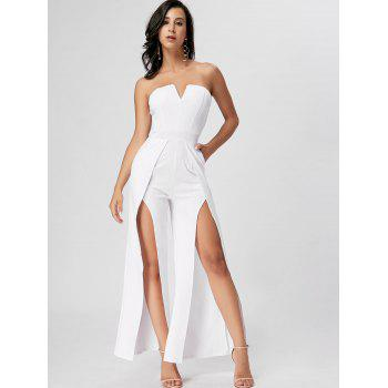 Strapless High Slit Maxi Jumpsuit - WHITE L