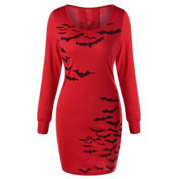 Halloween Bat Print Lace Up Dress