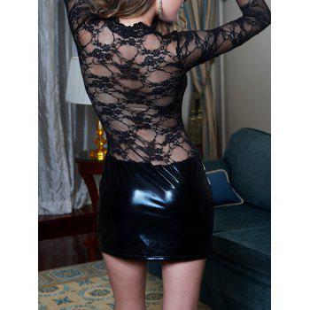 Lace Insert Sheer Dress with Sleeves - BLACK BLACK