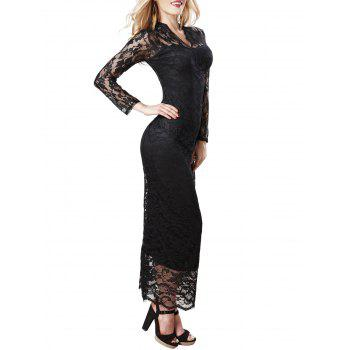 Lace Long Sleeve Maxi Bodycon Dress - BLACK ONE SIZE