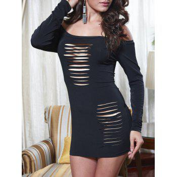 Off Shoulder Ladder Cut Out Mini Dress - BLACK BLACK