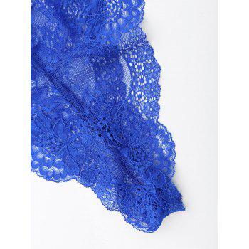 Lace See Thru Backless Teddy - Bleu S