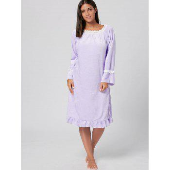Fuzzy Flounce Winter Loungewear Robe - Violet Clair L