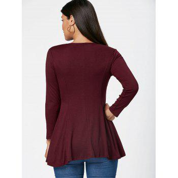 Lace Up Long Sleeve Tunic T Shirt - WINE RED XL