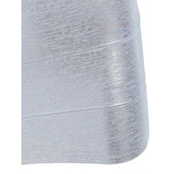 V Neck Sleeveless Metallic Bandage Dress - SILVER SILVER