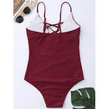 Criss Cross One Piece Swimsuit - WINE RED S