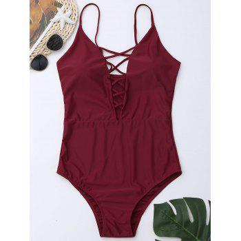 Criss Cross One Piece Swimsuit - WINE RED WINE RED