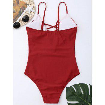 Criss Cross One Piece Swimsuit - RED XL