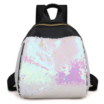 Sequins PU Leather Backpack - WHITE WHITE