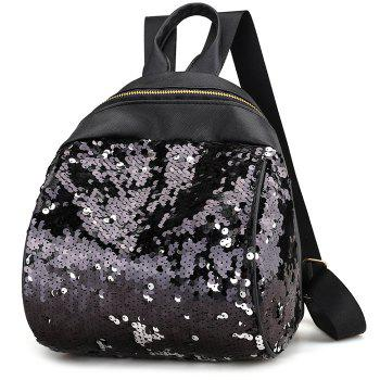 Sequins PU Leather Backpack -  BLACK