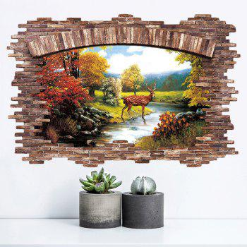 Stream Deer 3D Broken Wall Art Sticker - multicolorcolore 60*90CM