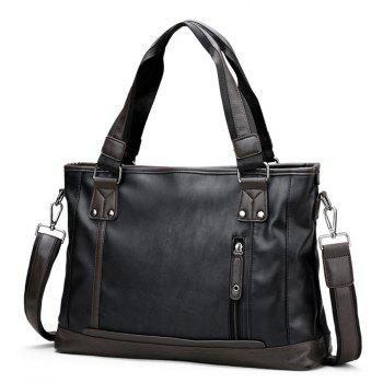 Stitching Faux Leather Handbag -  BLACK