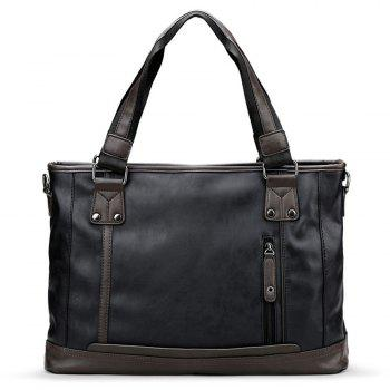 Stitching Faux Leather Handbag - BLACK BLACK