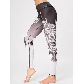 High Waisted Printed Skinny Gym Leggings - COLORMIX COLORMIX