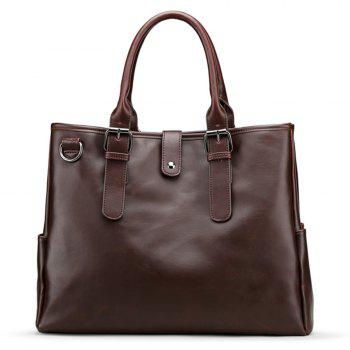 Metal Ring Faux Leather Buckle Strap Briefcase - BROWN BROWN