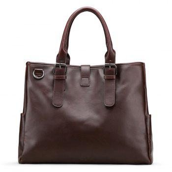 Metal Ring Faux Leather Buckle Strap Briefcase -  BROWN