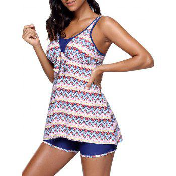 Zigzag Print Skirted Tankini Set - COLORMIX S