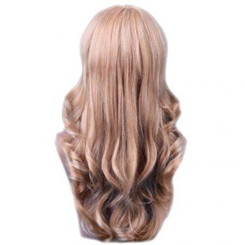 Long Sideswept Bang Colormix Feathered Wavy Human Hair Wig - BROWN/BLONDE 60CM