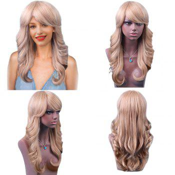 Long Sideswept Bang Colormix Feathered Wavy Human Hair Wig - BROWN WITH BLONDE 60CM