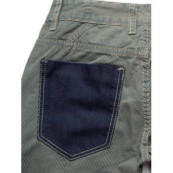 Casual Denim Panel à rayures des pantalons droits - Rayure 36