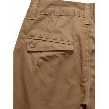 Casual Zip Fly Straight Leg Chino Pants - Kaki 30