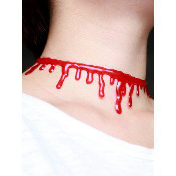 Plastic Halloween Blood Choker Necklace - RED