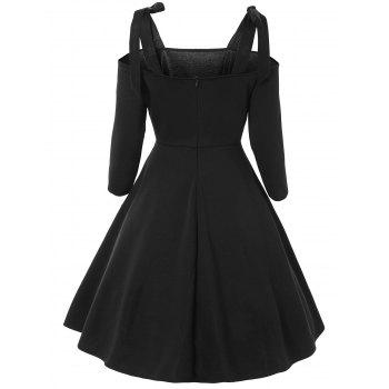 Cold Shoulder Bowknot Vintage Dress - BLACK L
