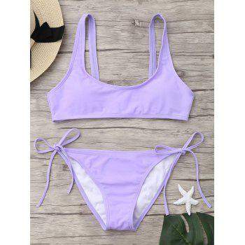 U Neck Tie Side Bikini Set - LIGHT PURPLE XL