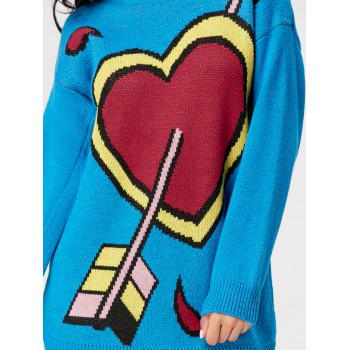 Crew Neck Arrow Heart Mini Sweater Dress - BLUE BLUE