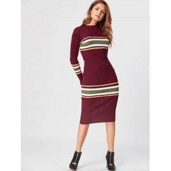 Mock Neck Striped Knit Dress - RED RED