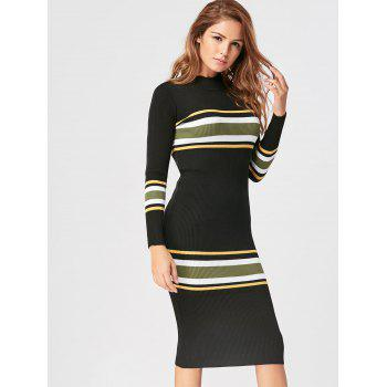 Mock Neck Striped Knit Dress - BLACK ONE SIZE