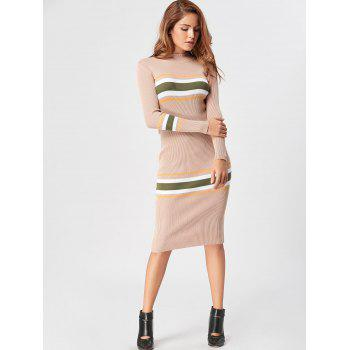 Mock Neck Striped Knit Dress - Abricot ONE SIZE