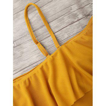 Ribbed Knit Flounce One Piece Swimsuit - GINGER XL