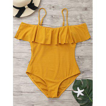Ribbed Knit Flounce One Piece Swimsuit - GINGER GINGER