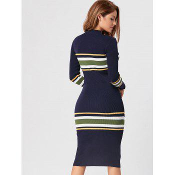 Mock Neck Striped Knit Dress - CERULEAN CERULEAN
