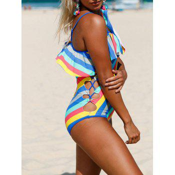 Ruffle Striped Lace Up Swimsuit - COLORMIX S